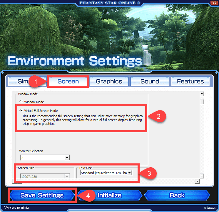 pso2 tips - how to change screen resolution
