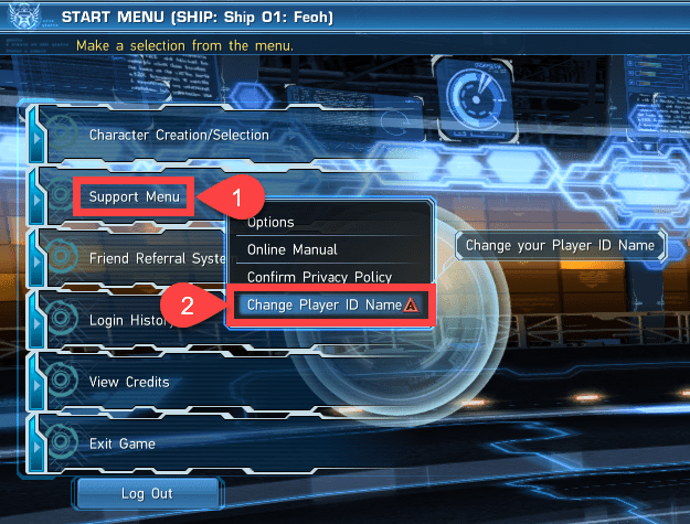Support Menu to Change Player ID Name