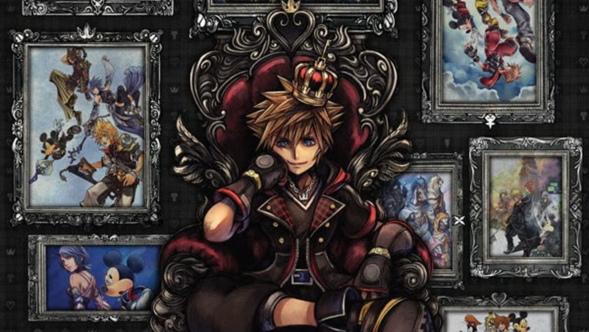 kingdom hearts art with sora on the throne
