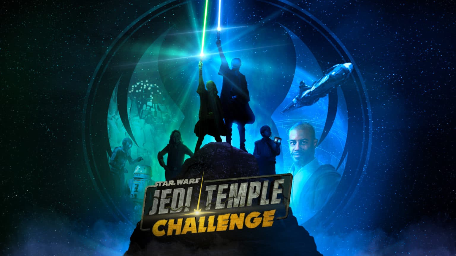 Official Jedi Temple Challenge promo art with ahmed best as a jedi master