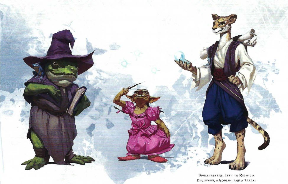 Spellcaster sidekicks: bullwug in a witch hat, goblin in a pretty pink party dress, and a tabaxi...being a cat in pants, I guess