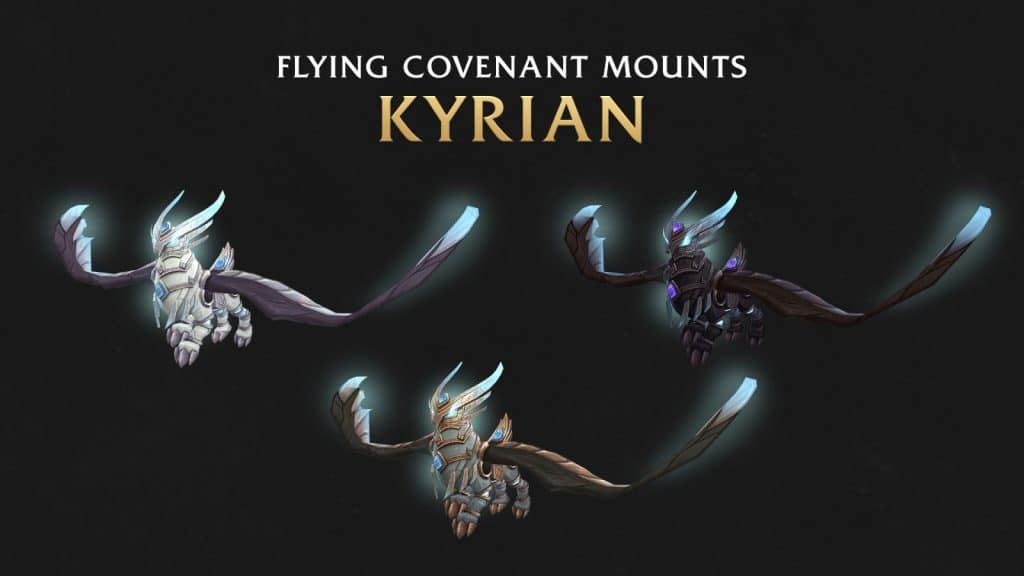 Kyrian flying mounts in World of Warcraft: Shadowlands