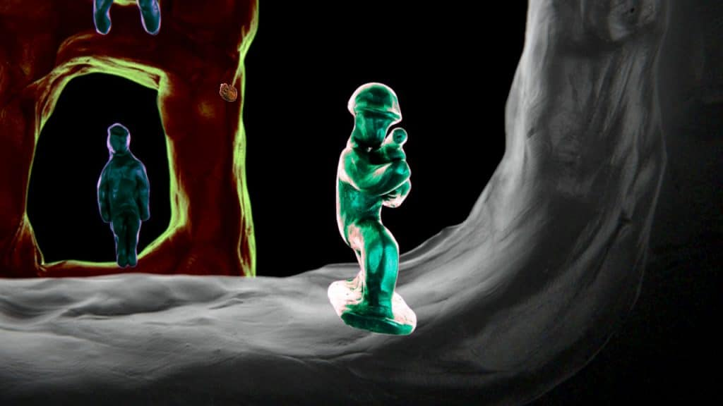 A toy soldier aims at the player.