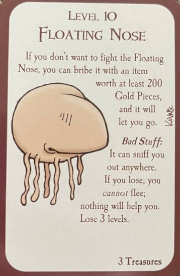 Closeup of the Floating Nose monster card