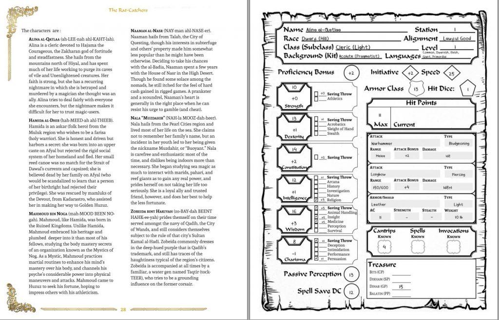 zakhara al-qadim 5e pregenerated character sheet