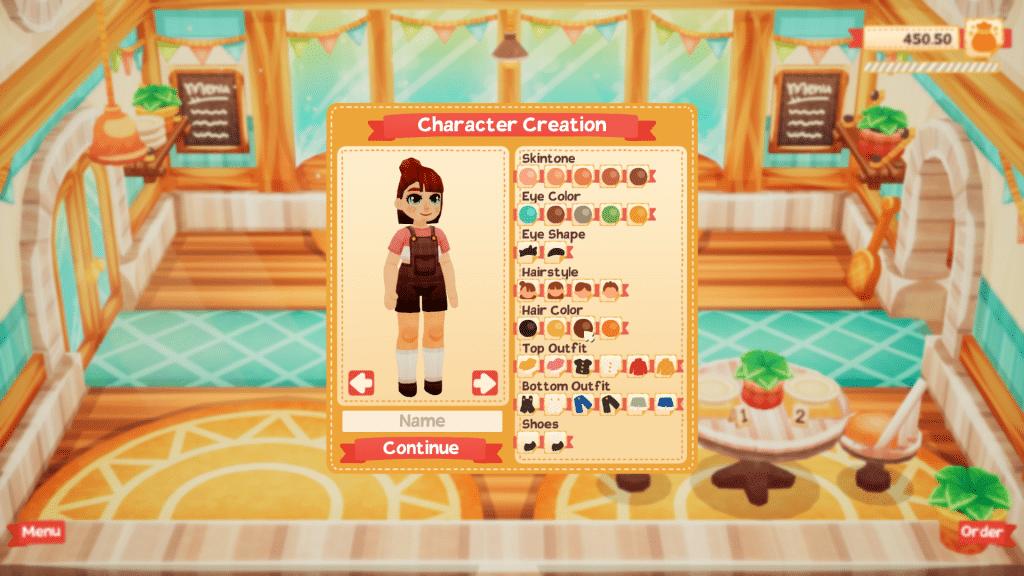 Character creation screen in Lemon Cake