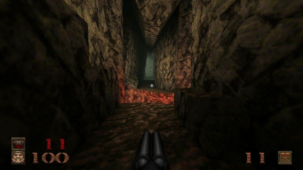 A lava-filled cavern