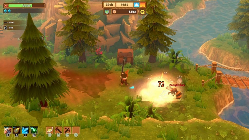 Attacking a bee in Kitaria Fables