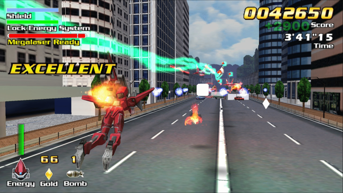 Flying a mech down the street in ExZeus 1 shmup
